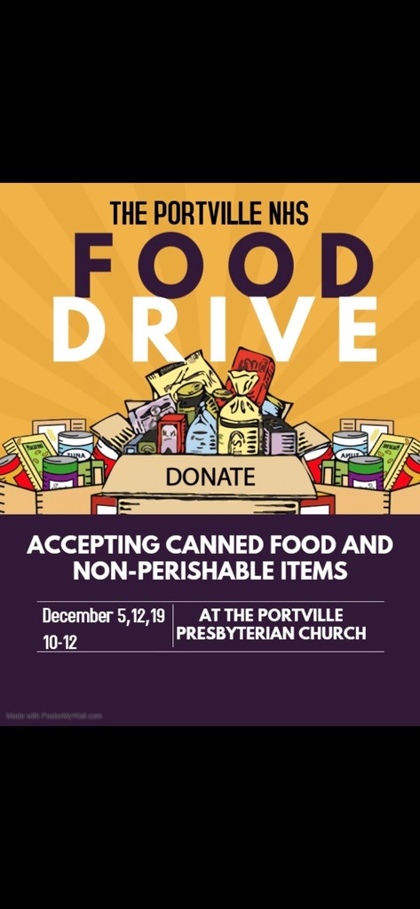 The PCS National Honor Society is running a drive-thru can drive tomorrow at the Portville Presbyterian Church from 10 AM - 12 PM.   Pull around back with your canned goods, pop your trunk, and our NHS students will come get your donation.  Please help fill our local food pantry, which will help our local families through this difficult time.