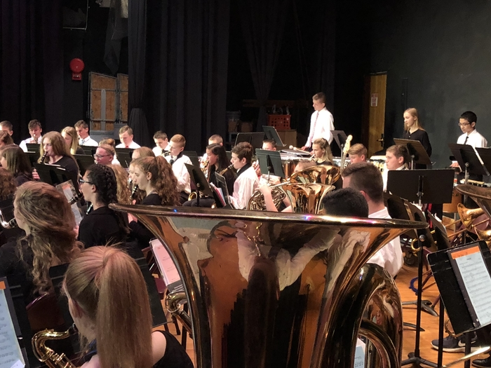The Jr. High Band performing in the Spring Concert!