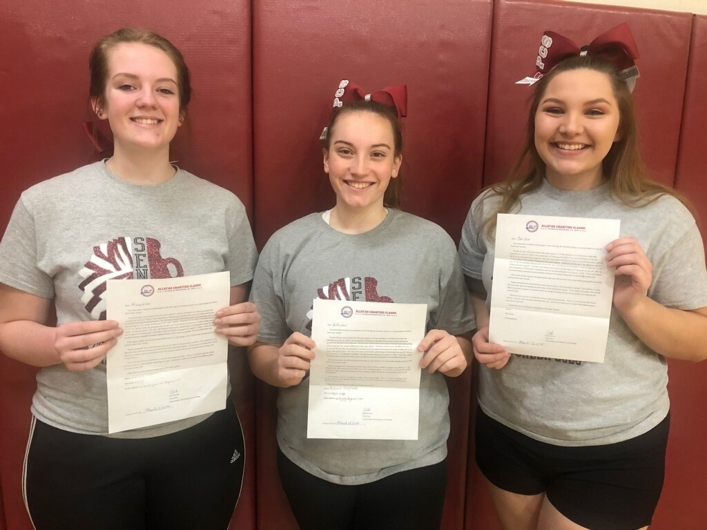 Congratulation to these three amazing cheerleaders Kiersten Ferguson, Autumn Gagliardo, and Corissa Cousins for representing Portville Central School in this year Big 30 football game. These three were chosen for their talent, commitment, and dedication to their squads. The dynamic duo made from two bases, Kiersten and Corissa, will push through anything to make their stunts succeed. While Autumn, who received the All American Cheerleader award, is multi talented and will base, spot, tumble, and stunt when needed.