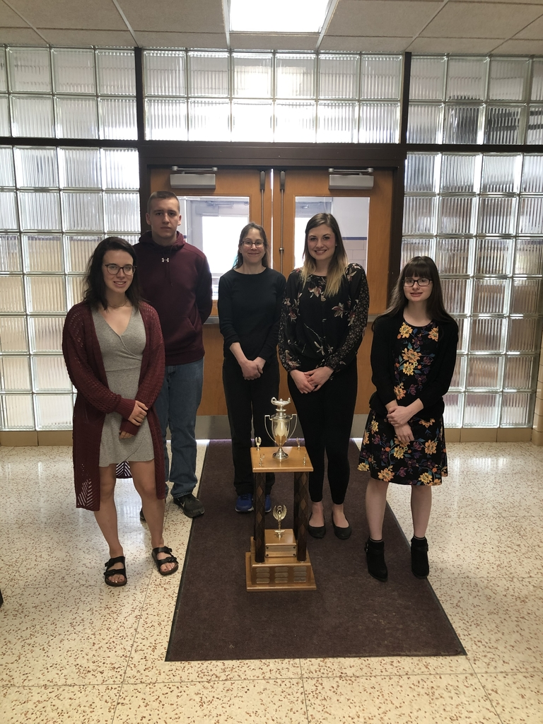 Overall team winners for the Angelo Melaro Writing Contest.  This included all schools in Cattaraugus and Allegany County.  Members of the team were Shayla Wilhelm, Olivia Marshall, Thomas Scanlon, and Jillian Long.  Advisor:  Mrs. Mesler.  Congratulations!